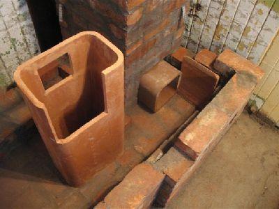 Чугунная дровяная плита, газоходы.